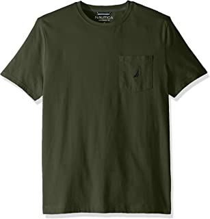 Men's Solid Crew Neck Short Sleeve Pocket T-Shirt, Pine Forest, X-Large