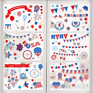 Konsait Fourth of July Window Decals Decorations, 142 Pieces Large Independence Day USA Flags Blue Red White Stars Air Bal...