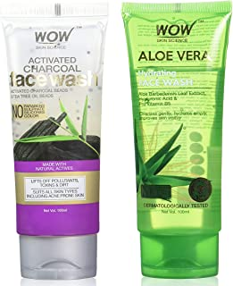 WOW Activated Charcoal Face Wash (100mL) & WOW Skin Science Aloe Vera With Hyaluronic Acid and Pro Vitamin B5 Hydrating Ge...