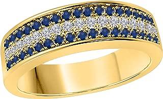 6mm 14K Yellow Gold Over 1/2 Ct Blue Sapphire & White Simulated Diamond Half Eternity Men's Anniversary Wedding Band Ring
