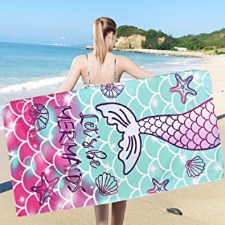 Ikfashoni Mermaid Tail Beach Towel, Mermaid Princess Bath Towels for Girls 31 x 60 inch, Super Absorbent Quick Dry Mermaid Scales Beach Towels, Pool and Beach Bath Towels for Teen Women