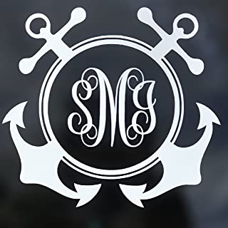 Custom Anchor Initial Monogram Vinyl Decal - Boating Bumper Sticker, for Tumblers, Laptops, Car Windows - Simple Letters