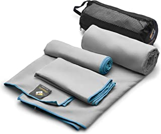 3 Size Towels at the Price of 1 - Super Pack - Fast Quick Dry · Super Absorbent · Ultra Compact · Lightweight · Antimicrobial · Set Microfiber Towels - Best For Gym Travel Camp Backpacking Yoga Fitnes