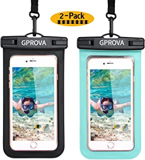Waterproof case, GPROVA Waterproof Phone Pouch Cellphone Dry Bag for Apple iPhone X 7 8 6S Smartphone Samsung Galaxy S8 S7 S6 Edge LG G6 Huawei Google Pixel 2 Moto HTC Sony up to 6 inches (Black+Mint)
