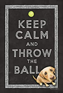 Toland Home Garden Keep Calm and Throw The Ball 28 x 40 Inch Decorative Cute Funny Puppy Dog Double Sided House Flag