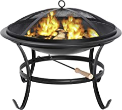 ZENY Fire Pit 22'' Outdoor Fire Pits Wood Burning Patio Fire Bowl BBQ Grill Firepit with Mesh Cover Log Grate Fire Poker f...