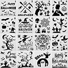 16 Pieces Halloween Stencils Plastic Drawing Templates Theme Painting Template with Pumpkin, Bat, Skeleton, Owl, Hat, Skeleton