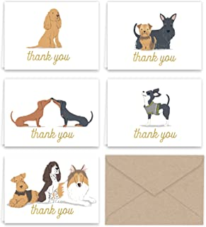 Paper Frenzy Dogs Puppies Thank You Note Card Collection 25 pack with Kraft Envelopes