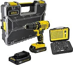 STANLEY FATMAX FMCK601D2A-QW - Taladro atornillador 18V, con 2 baterías de litio 2Ah, set de accesorios y maletín organizador