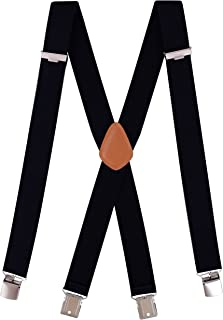 Neihou Suspenders for Men Heavy Duty, 1.5 Inch X-Back Adjustable and Elastic Braces Solid Straight Clip Suspenders