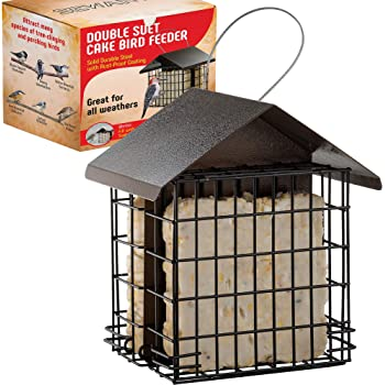 SEWANTA Suet Bird Feeder for Outside [Double Capacity] Suet Wild Bird Feeder with Hanging Metal Roof, Suet Feeders for Outside, for Use with Suet Cakes, Seed Cakes, Mealworm Cakes
