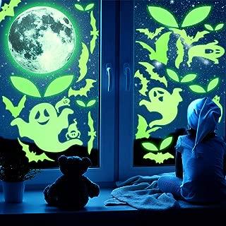 47 Pieces Halloween Luminous Decals Glow in Dark Stickers Bat Moon Ghost Eyes Decorations Window Wall Decals Set for Halloween Party Decorations