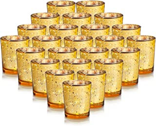 24-Pack Mercury Votive Candle Holders Bulk, Speckled Gold Mercury Candle Holders Perfect Decor for Home, Wedding, Prom, Party - 2.67