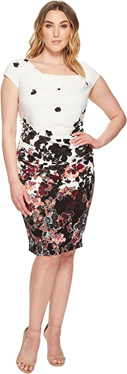 Plus Size Floral Bliss Printed Stretch Crepe Sheath Dress with Cowl Neckline and Draped, Tucked Body, Fully Lined