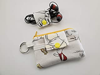 Set Zipper Mini Wallet & Fabric Cable iPhone Cord Earphone Earbud Holder Pouch Key Chain Card - Winnie The Pooh Piglet