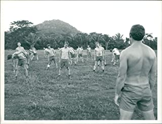 Vintage photo of Irish guards on morning PT at rideau camp in southern belize.