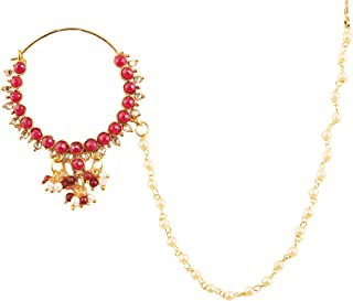 Touchstone New Indian Bollywood Desire Faux Pearls Faux Ruby Designer Bridal Jewelry Nath (Nose Accessory) in Gold Tone for Women.