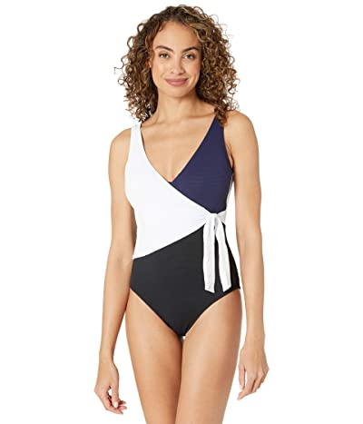 Tommy Bahama Color-Block Scoop Back One-Piece (Black) Women