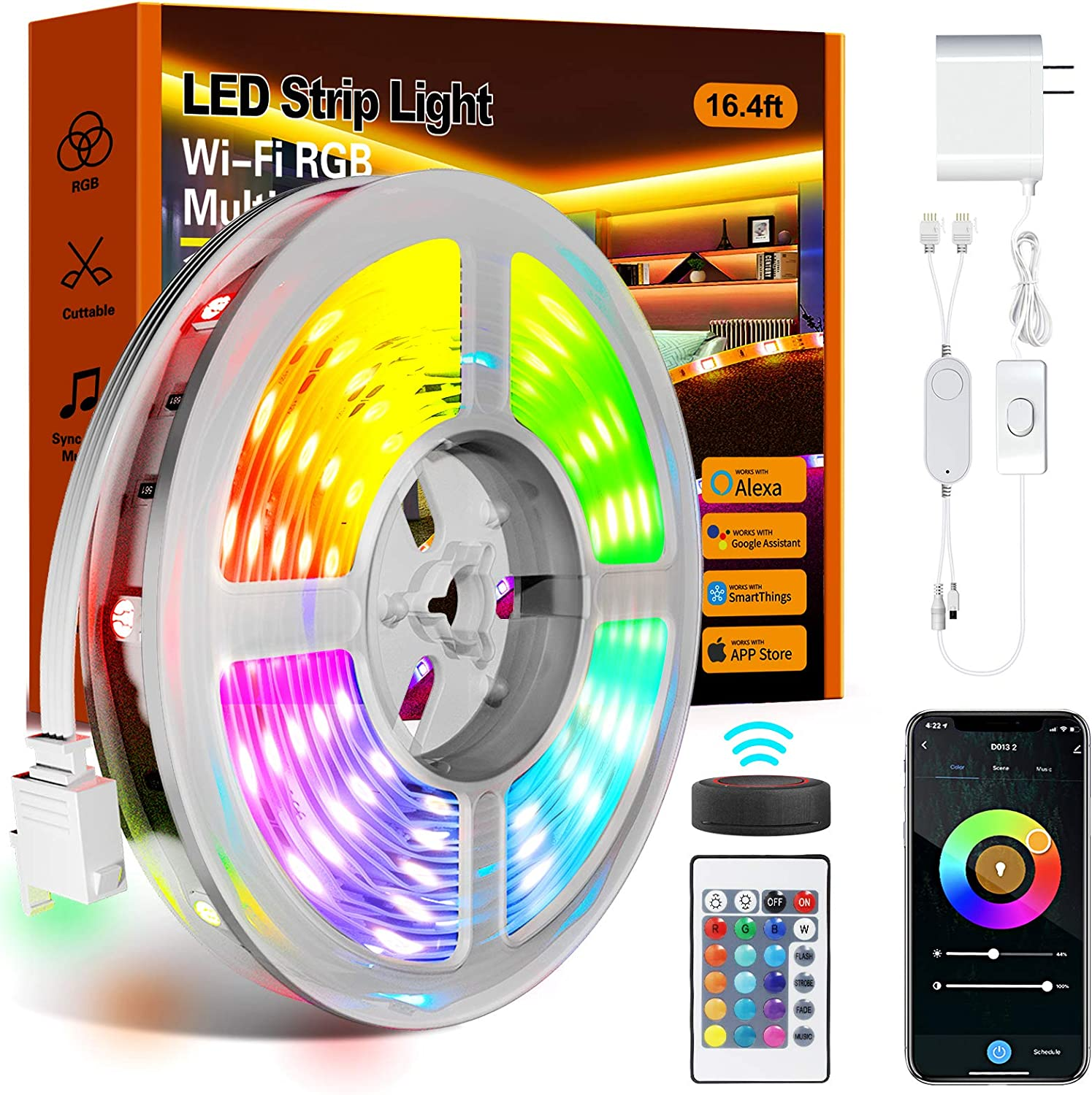 Led Strip Lights,16.4ft Led Lights 5050 RGB Color Changing Music Sync WiFi Smart Lights Strip Work with Alexa & Google Assistant,IR Remote & APP Control Rope Lights for Home Decoration,Party