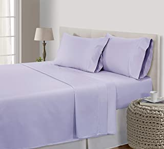 CHATEAU HOME COLLECTION egyptian cotton bed sheets queen,800 Thread Count 100% egyptian Cotton Bed Sheets,4Pc Queen-Pale Lavender Sheet Set,Single Ply Long-Staple Yarns, Sateen Weave,best cotton sheet