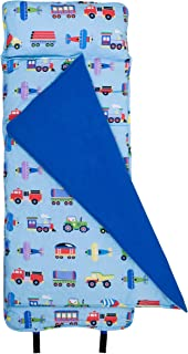 Wildkin Original Nap Mat with Pillow for Toddler Boys and Girls,Ideal for Daycare and Preschool,Measures 50 x 1.5 x 20 Inches,Mom's Choice Award Winner,BPA-Free,Olive Kids(Trains, Planes and Trucks)