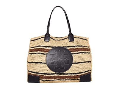 Tory Burch Ella Striped Straw Tote (Natural/Midnight) Handbags