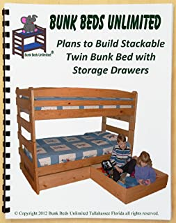Bunk Bed DIY Woodworking Plan to Build Your Own Stackable Twin Over Twin with Two Large Storage Drawers and Hardware Kit for Bunk and Two Drawers (Wood NOT Included)