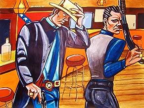 JUSTIFIED ORIGINAL PAINTING man cave art-western FX tv series raylan givens timothy olyphant walton goggins shotgun glock