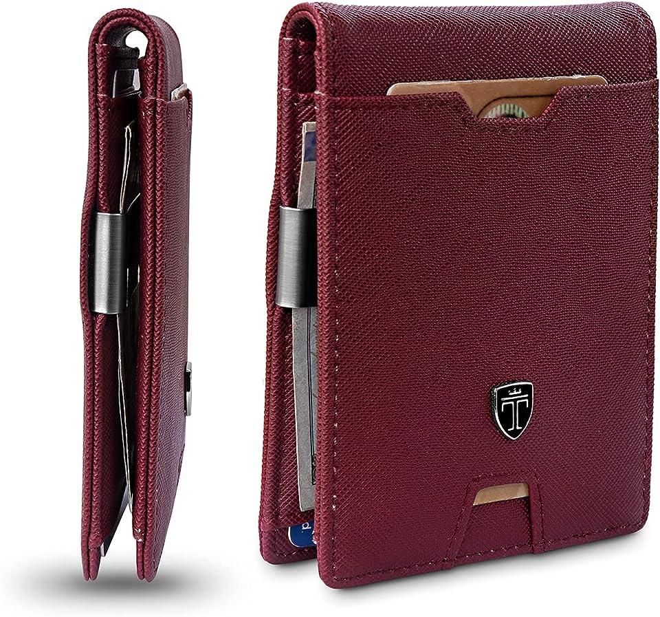 TRAVANDO Mens Slim Wallet with Money Clip AUSTIN RFID Blocking Bifold Credit Card Holder for Men with Gift Box (Red)