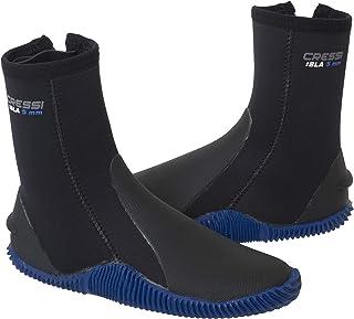 Cressi 男女皆宜的 Isla 5mm 潜水靴,黑色/鞋底和蓝色标志,L 码 (42/43)