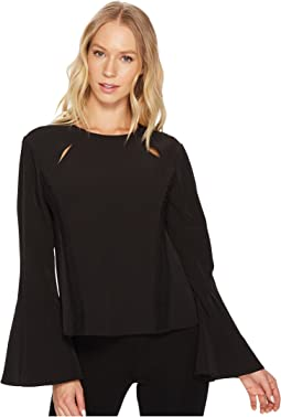 Scoop Neck Faggoting Insert Long Sleeve Flare Top