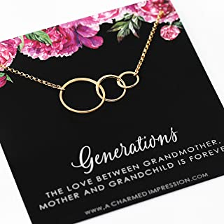 Generations Necklace • 14k Gold Three Circle Necklace • Grandmother Mother Daughter Gifts Jewelry • 3 Generation Necklace • Grandson Granddaughter • Family Keepsake Gift for Mom Grandma Grandchild