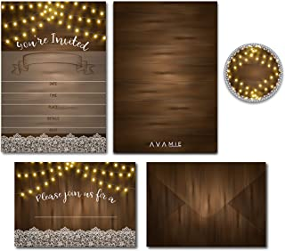 Avamie 20 Pack Rustic Fill-In Invitations with Envelopes and Stickers, All-Purpose Invitations for All Occassions, Weddin...