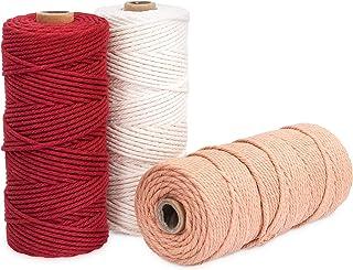 Navaris Makramee Garn 3er Set - Baumwollschnur für DIY Projekte Wandteppich Traumfänger - Natur Baumwolle Baumwollkordel - weiß, dunkelrot, altrosa