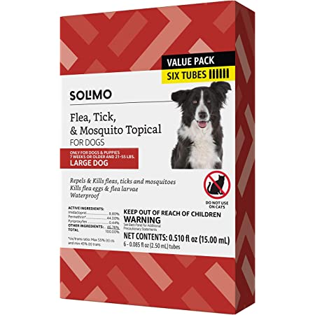 Amazon Brand - Solimo Flea, Tick & Mosquito Topical Treatment for Dogs (Small, Medium, Large, X-Large), 6 Count