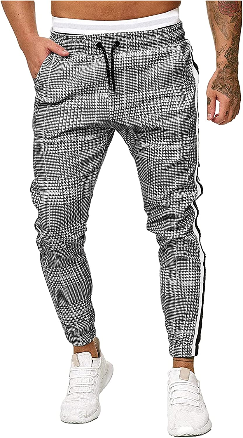 Slim Fit Pants for Men Skinny Stretch Casual Drawstring Plaid Pockets Trousers Comfortable Daily Joggers Sweatpant Leggings