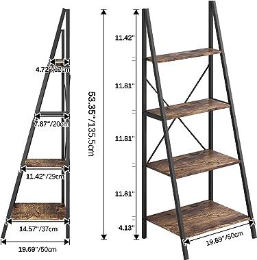 4NM Industrial 4-Tier Ladder Shelf, Metal Bookshelf Multifunctional Plant Flower Stand Storage Rack Shelves - Rustic Brown an