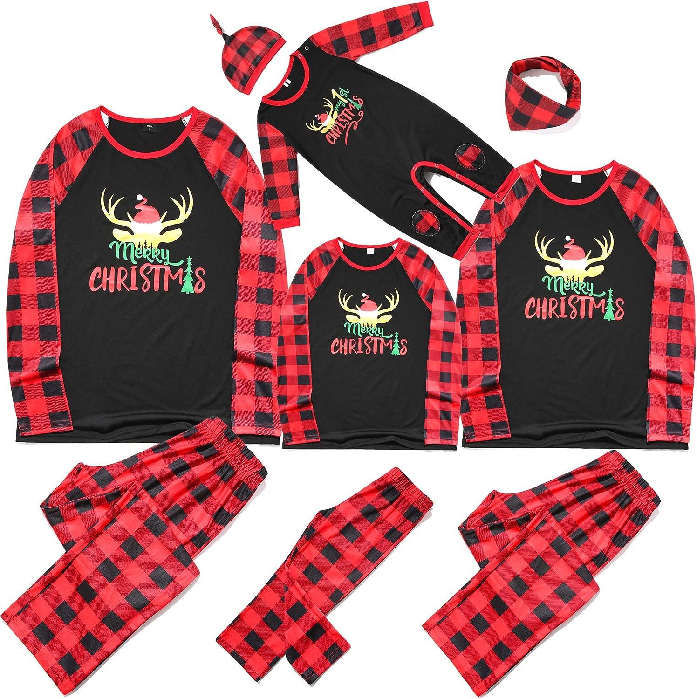 Matching Christmas Pajamas for Family PJs Matching Sets, Long Sleeve Top and Pants Sleepwear Jammies 100% Cotton