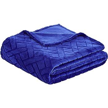 Blau Pr/ägemuster Fleecedecke Basics 220 x 240 cm