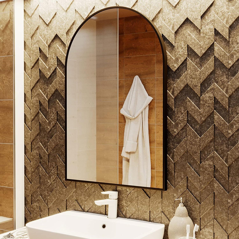Buy Beautypeak Wall Mounted Mirror 24x36 Arch Bathroom Mirror Black Vanity Wall Mirror W Metal Frame For Bedroom Entryway Living Room Online In Germany B08ywqkc97
