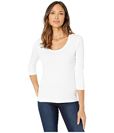 Lilla P 1X1 3/4 Sleeve Scoop Neck Tee (White) Women