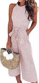 Women's Summer Striped Sleeveless Waist Belted Zipper Back Wide Leg Jumpsuit Romper with Pockets
