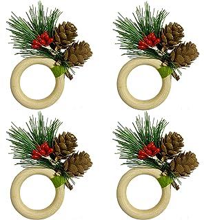 لوجوج خواتم منديل عيد الميلاد مجموعة من 4، خواتم خشب يدوية الصنع للزفاف، عيد الحب، الوليمة، عيد الميلاد، عيد الشكر الجدول ...