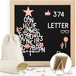Black Felt Letter Boards 10x10 Inches Changeable Felt Letter Message Board with 374 Pre-Cut Plastic Letters and Wall Mount Home Decor Oak Wood Frame, Stand and 2 Canvas Storage Bags by Easyacc