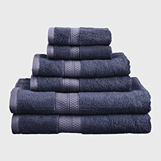 6-Piece Towel Set, Soft Rayon from Bamboo, Quick Dry, River Blue