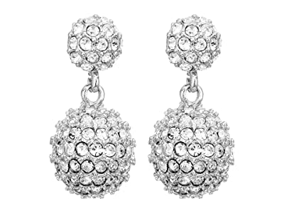Vince Camuto Jewel Covered Fireball Double Drop Post Earrings (Rhodium/Crystal) Earring