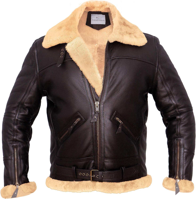Men RAF Aviator Bomber Real Shearling Sheepskin B3 Bomber Leather Jacket