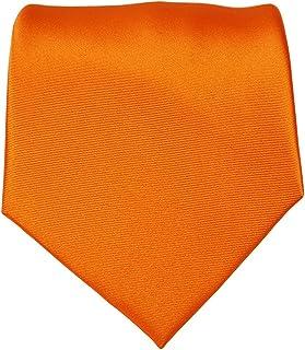 """Mens Solid Color Formal Tie Wedding Necktie 3.5"""" Satin Finish (Orange)"""
