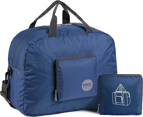 WANDF Foldable Travel Duffel Bag Sac de Voyage Pliable Sac de Sport Gym Résistant à l'eau Nylon (Bleu 20L, 20L)