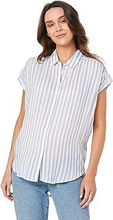 Ripe Maternity Women's Quinn Relaxed Shirt, Blue/White